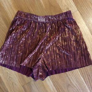 shiny pink shorts